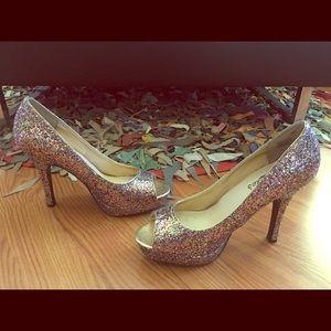 Multi Color Glittery Peep Toe Heels